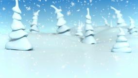 Χιονοπτώσεις σε μια δασική ζωτικότητα Χριστουγέννων κινούμενων σχεδίων φαντασίας για το τηλεοπτικό υπόβαθρο διακοπών ελεύθερη απεικόνιση δικαιώματος