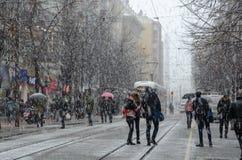 Χιονοπτώσεις στην πόλη στοκ φωτογραφία με δικαίωμα ελεύθερης χρήσης