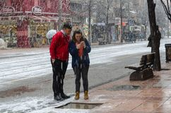 Χιονοπτώσεις στην πόλη στοκ εικόνα