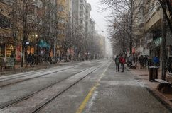 Χιονοπτώσεις στην πόλη στοκ εικόνες