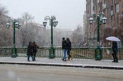 Χιονοπτώσεις στην πόλη στοκ φωτογραφία