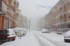 Χιονοπτώσεις στις οδούς πόλεων Στοκ Εικόνες