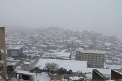 Χιονοπτώσεις στο Μπακού Badamdar φλυάρων Χειμώνας στοκ εικόνες