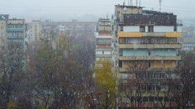 χιονοπτώσεις του Κίεβ&omicron απόθεμα βίντεο