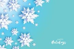 Χιονοπτώσεις Origami Κάρτα χαιρετισμών Χαρούμενα Χριστούγεννας Η Λευκή Βίβλος έκοψε τη νιφάδα χιονιού καλή χρονιά Χειμερινά snowf ελεύθερη απεικόνιση δικαιώματος