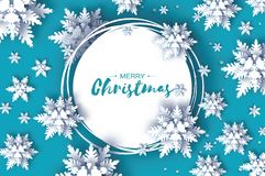Χιονοπτώσεις Origami Κάρτα χαιρετισμών Χαρούμενα Χριστούγεννας Η Λευκή Βίβλος έκοψε τη νιφάδα χιονιού καλή χρονιά Χειμερινά snowf απεικόνιση αποθεμάτων
