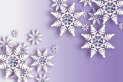 Χιονοπτώσεις Origami με το διαμάντι Κάρτα χαιρετισμών καλής χρονιάς κρυστάλλου Λαμπρή Χαρούμενα Χριστούγεννα Η Λευκή Βίβλος έκοψε διανυσματική απεικόνιση