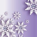 Χιονοπτώσεις Origami με το διαμάντι Κάρτα χαιρετισμών καλής χρονιάς κρυστάλλου Λαμπρή Χαρούμενα Χριστούγεννα Η Λευκή Βίβλος έκοψε ελεύθερη απεικόνιση δικαιώματος