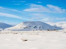 Χιονοσκεπές βουνό κατά τη διάρκεια του χειμώνα στην Ισλανδία Στοκ Εικόνες