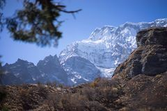 Χιονοσκεπή αιχμή και δάσος στα βουνά του Ιμαλαίαυ, περιοχή Annapurna, του Νεπάλ Στοκ εικόνες με δικαίωμα ελεύθερης χρήσης