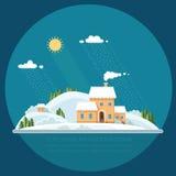 Χιονοσκεπείς λόφοι βουνών χειμερινών τοπίων επίπεδο διάνυσμα illust Στοκ Φωτογραφία