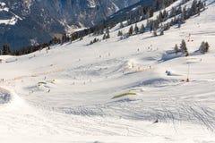 Χιονοδρομικό κέντρο κακό Gastein στα χειμερινά χιονώδη βουνά, Αυστρία, έδαφος Σάλτζμπουργκ Στοκ φωτογραφία με δικαίωμα ελεύθερης χρήσης