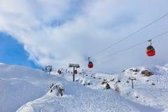 Χιονοδρομικό κέντρο Kaprun Αυστρία βουνών Στοκ εικόνα με δικαίωμα ελεύθερης χρήσης