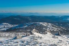 Χιονοδρομικό κέντρο Sheregesh, περιοχή Tashtagol, περιοχή Kemerovo, της Ρωσίας Στοκ Φωτογραφία