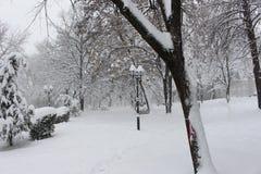 Χιονώδες παραμύθι σε ένα πάρκο σε Petrich στο κέντρο της βουλγαρικής χειμερινής πόλης στοκ εικόνα