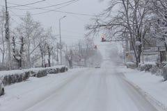 Χιονώδες πρωί από την ανατολή οδών Petrich και Rockefeller στοκ φωτογραφίες με δικαίωμα ελεύθερης χρήσης