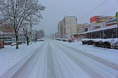 Χιονώδες πρωί από τη δύση οδών Petrich και Rockefeller στοκ φωτογραφία με δικαίωμα ελεύθερης χρήσης