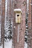 Χιονώδες σπίτι πουλιών σε ένα δέντρο πεύκων Ξύλινο κλουβί της ξυλείας Κιβώτιο φωλιών στο δάσος, Στοκ φωτογραφία με δικαίωμα ελεύθερης χρήσης