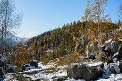 Χιονώδες τοπίο των Altay βουνών κοντά στο χωριό Onguday, Δημοκρατία Altai στοκ εικόνα με δικαίωμα ελεύθερης χρήσης