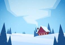 Χιονώδες τοπίο χειμερινών Χριστουγέννων κινούμενων σχεδίων με το κόκκινο σπίτι και καπνός από την καπνοδόχο ελεύθερη απεικόνιση δικαιώματος