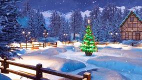 Χιονώδης αλπικός δήμος βουνών στη νύχτα Χριστουγέννων διανυσματική απεικόνιση