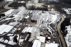 χιονώδης αυλή ξυλείας Στοκ φωτογραφίες με δικαίωμα ελεύθερης χρήσης