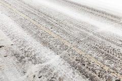 Χιονώδης δρόμος, χειμώνας Στοκ Εικόνα
