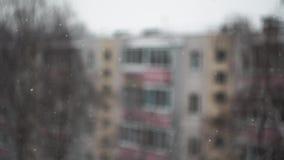 χιονώδης ημέρα Μειωμένο χιόνι έξω από το παράθυρο ενάντια σε ένα θολωμένο δέντρο φιλμ μικρού μήκους