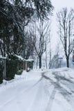 Χιονώδης ημέρα στην πόλη στοκ εικόνες
