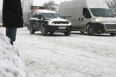 Χιονώδης οδός Στοκ φωτογραφία με δικαίωμα ελεύθερης χρήσης