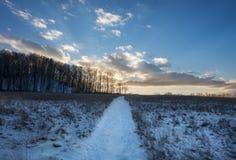 Χιονώδης πορεία Hill στο ηλιοβασίλεμα Στοκ Εικόνες
