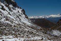 Χιονώδης σειρά βουνών στη βόρεια Ινδία Στοκ Εικόνες