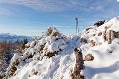 Χιονώδης σύνοδος κορυφής Schwarzenberg στοκ εικόνες