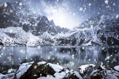 Χιονώδης χειμώνας στο μάτι της λίμνης θάλασσας Στοκ Φωτογραφία