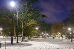 Χιονώδης χειμώνας στο πάρκο στο σούρουπο Στοκ φωτογραφία με δικαίωμα ελεύθερης χρήσης