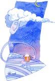 χιονώδης χειμώνας watercolor έργου τέχνης Στοκ Εικόνες