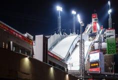 Χιονώδη άλματα RusSki Gorki σκι στο Sochi, Ρωσία στοκ φωτογραφία