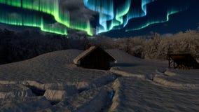 χιονώδη δάση καμπινών διανυσματική απεικόνιση