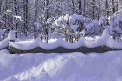 Χιονώδη κύματα σε έναν διακοσμητικό φράκτη μετά από βαριές χιονοπτώσεις Στοκ Φωτογραφία