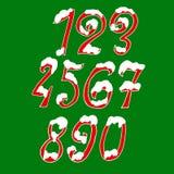 Χιονώδη ψηφία Χριστουγέννων Πηγή διακοπών με το χιόνι Handdrawn αριθμοί επίσης corel σύρετε το διάνυσμα απεικόνισης ελεύθερη απεικόνιση δικαιώματος