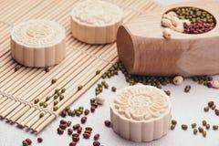 Χιονώδες δέρμα mooncakes Κινεζικό μέσο foo raditional φεστιβάλ φθινοπώρου Στοκ Φωτογραφίες