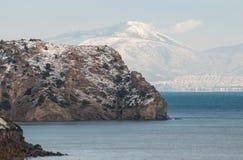 Χιονώδες ακρωτήριο στην Ελλάδα Στοκ φωτογραφία με δικαίωμα ελεύθερης χρήσης