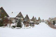 Χιονώδες γερμανικό χωριό Στοκ Φωτογραφία