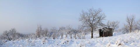 Χιονώδες λιβάδι με το οίκημα Στοκ Φωτογραφίες