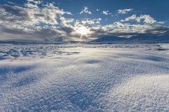 Χιονώδες ισλανδικό τοπίο Στοκ Φωτογραφίες