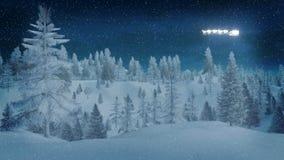 Χιονώδες κομψό δάσος στη χειμερινή νύχτα dreamlike ελεύθερη απεικόνιση δικαιώματος