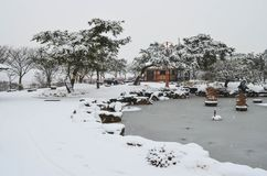 Χιονώδες πάρκο Στοκ εικόνα με δικαίωμα ελεύθερης χρήσης