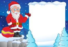 Χιονώδες πλαίσιο με το θέμα 1 Άγιου Βασίλη Στοκ εικόνα με δικαίωμα ελεύθερης χρήσης