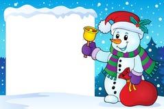 Χιονώδες πλαίσιο με το χιονάνθρωπο 1 Χριστουγέννων Στοκ Φωτογραφία