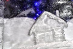 Χιονώδες σπίτι σε έναν φραγμό του πάγου Στοκ Εικόνα